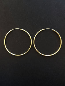 50mm Gold Plated Silver Hoops