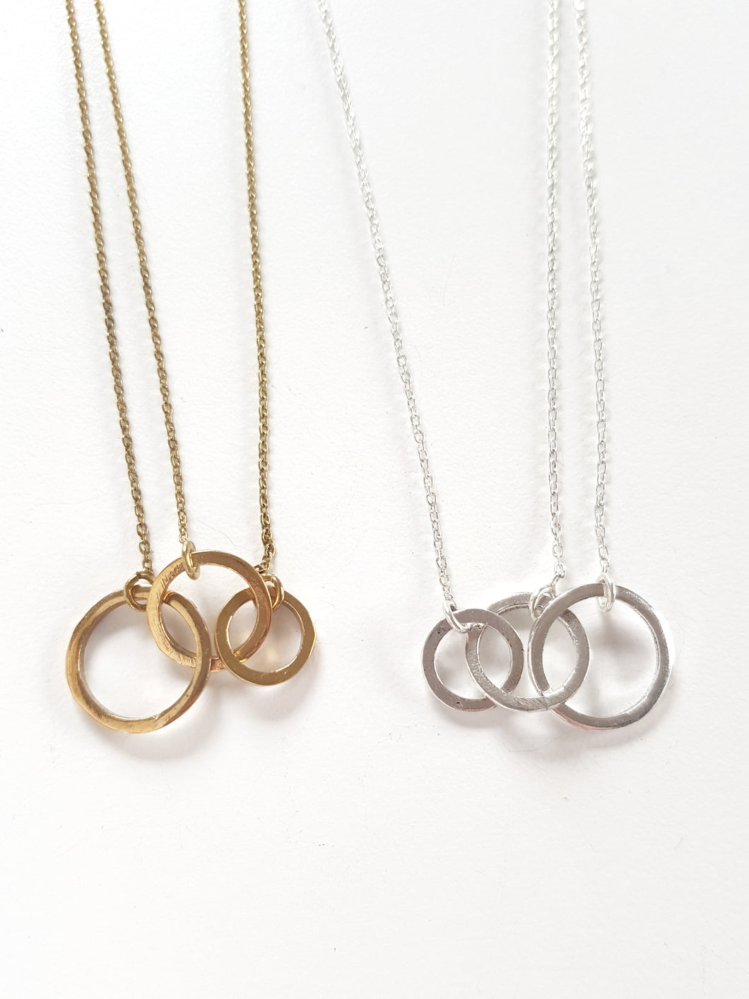 Brass Triple Circle Necklace