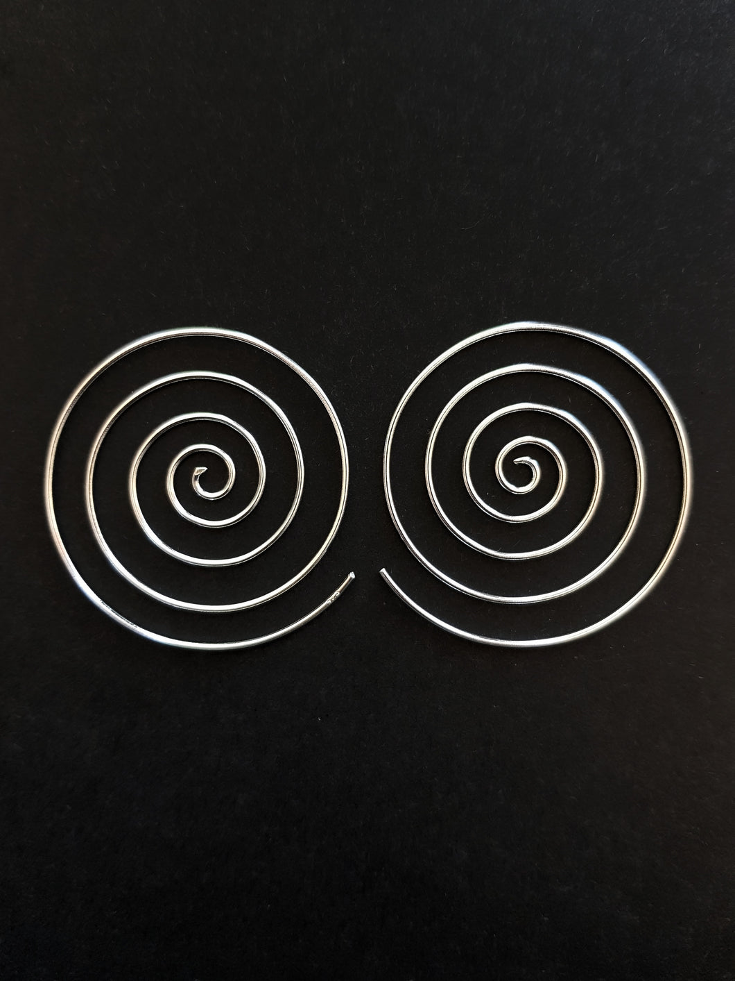 40mm Silver Spiral Earrings
