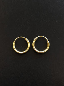 15mm Gold Plated Hoop Earrings