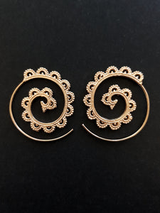 Rose Gold Plated Filigree Spiral Earrings
