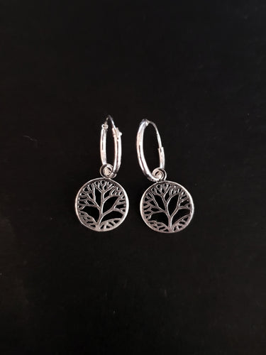 Silver Filigree Charm on Hoops