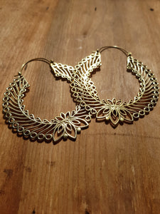 Laurel Wreath Statement Earrings - Brass