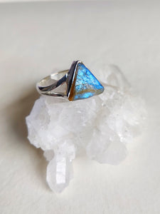 Rough Labradorite Sterling Silver Ring - Size 7