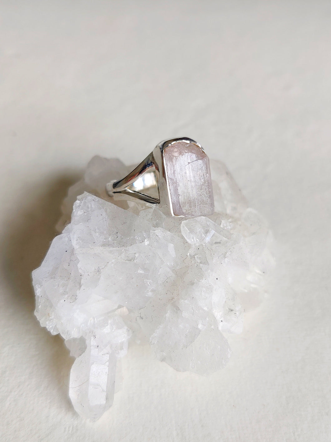 Rough Pink Kunzite Sterling Silver Ring - Size 7