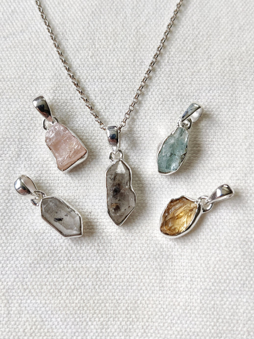 Small Rough Crystal Sterling Silver Pendants