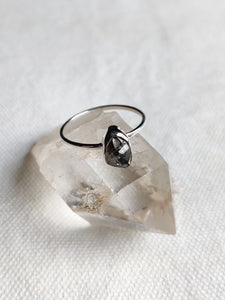 Small Rough Crystal Sterling Silver Rings