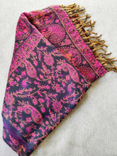 Load image into Gallery viewer, Paisley Wool Blanket Scarf - Pink