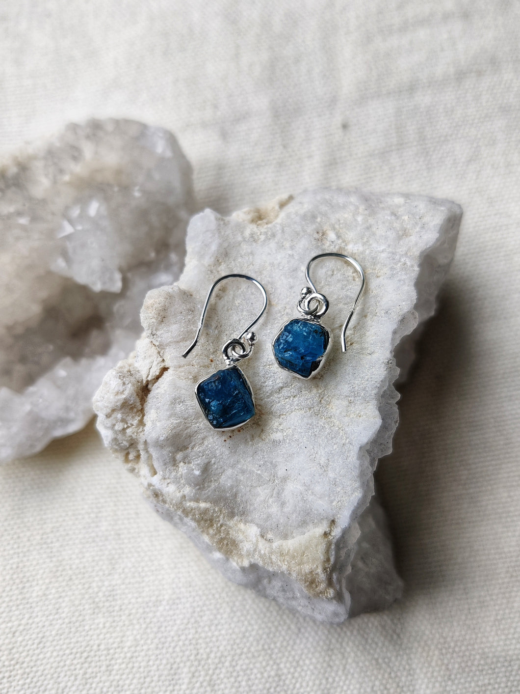 Sterling Silver Rough Apatite Earrings