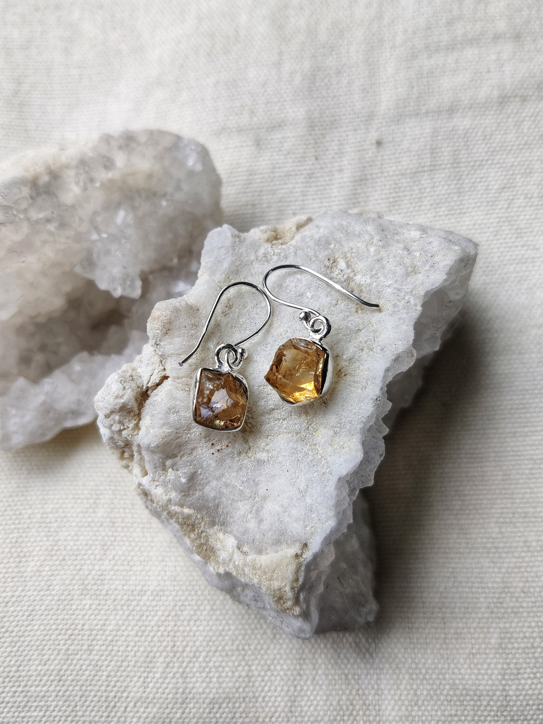 Sterling Silver Rough Citrine Earrings