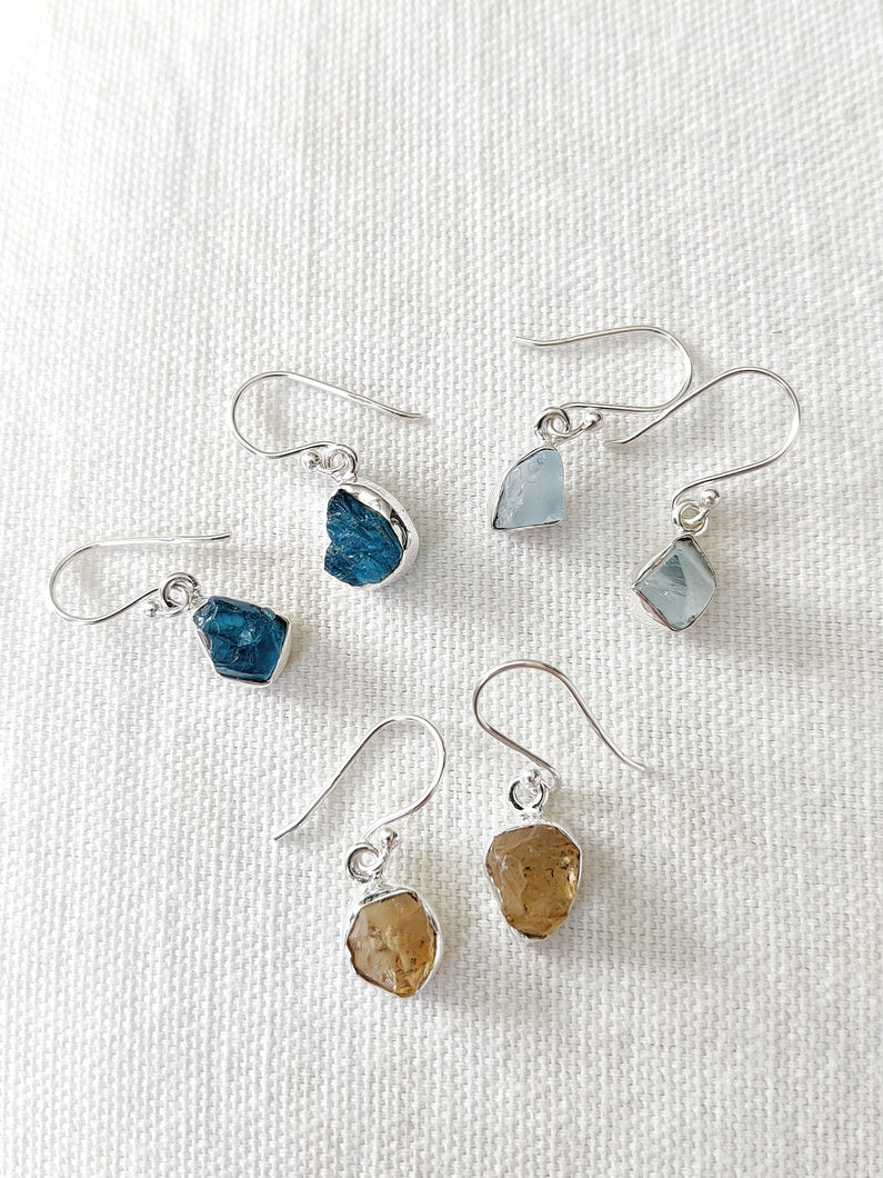 Rough Crystal Sterling Silver Earrings