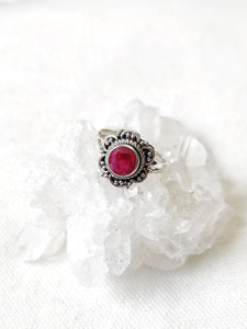 Sterling Silver Floral Gemstone Rings