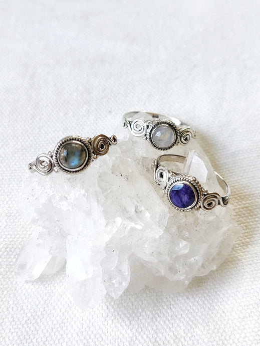 Sterling Silver Spiral Gemstone Rings