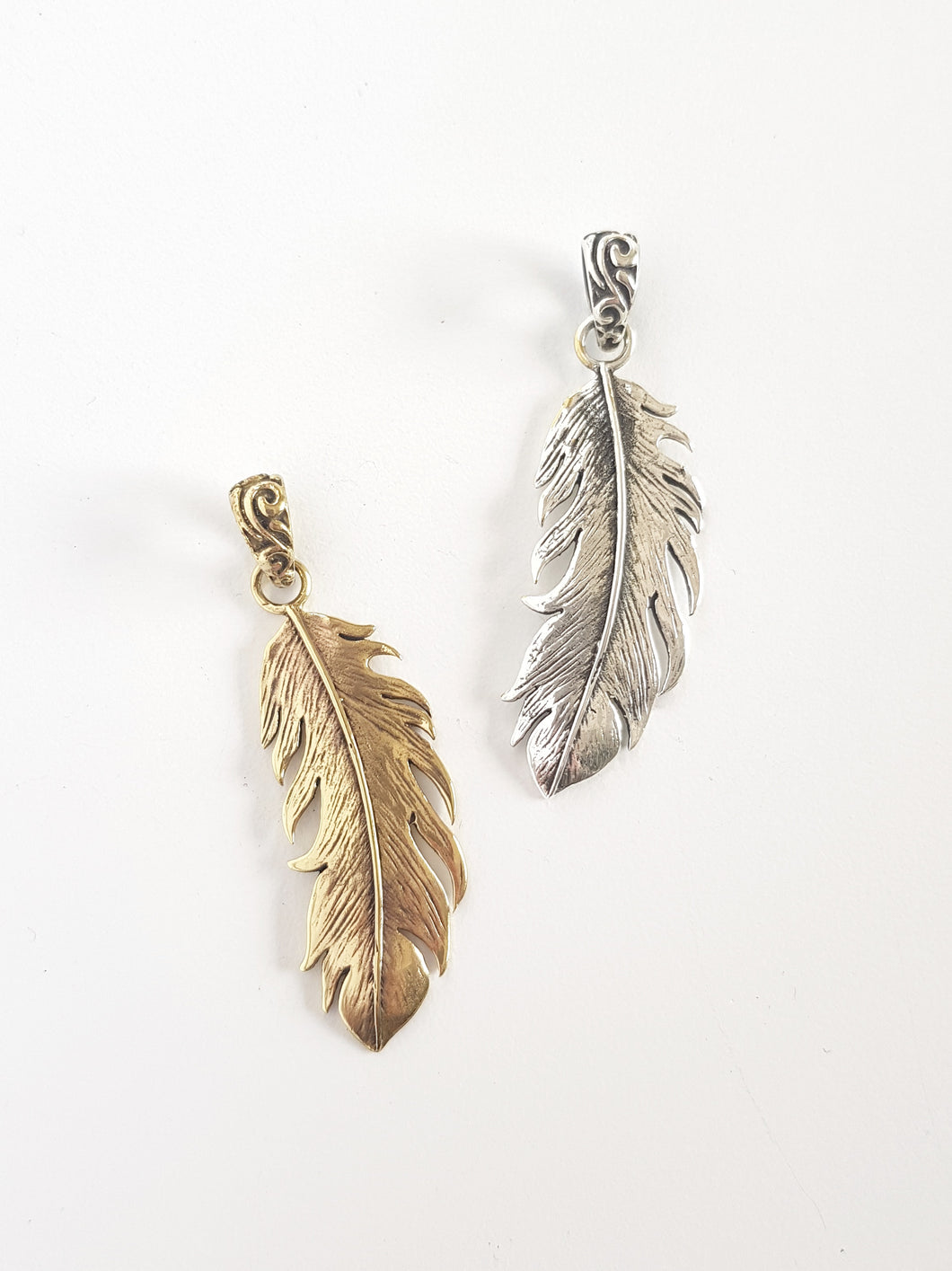 Brass Feather Pendant