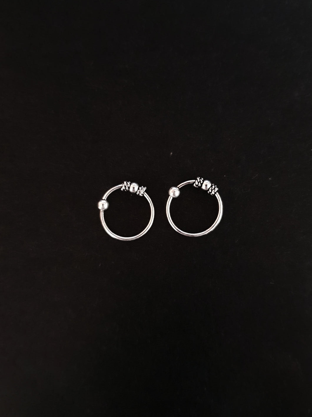 10mm Silver Hoop with Bead - Single