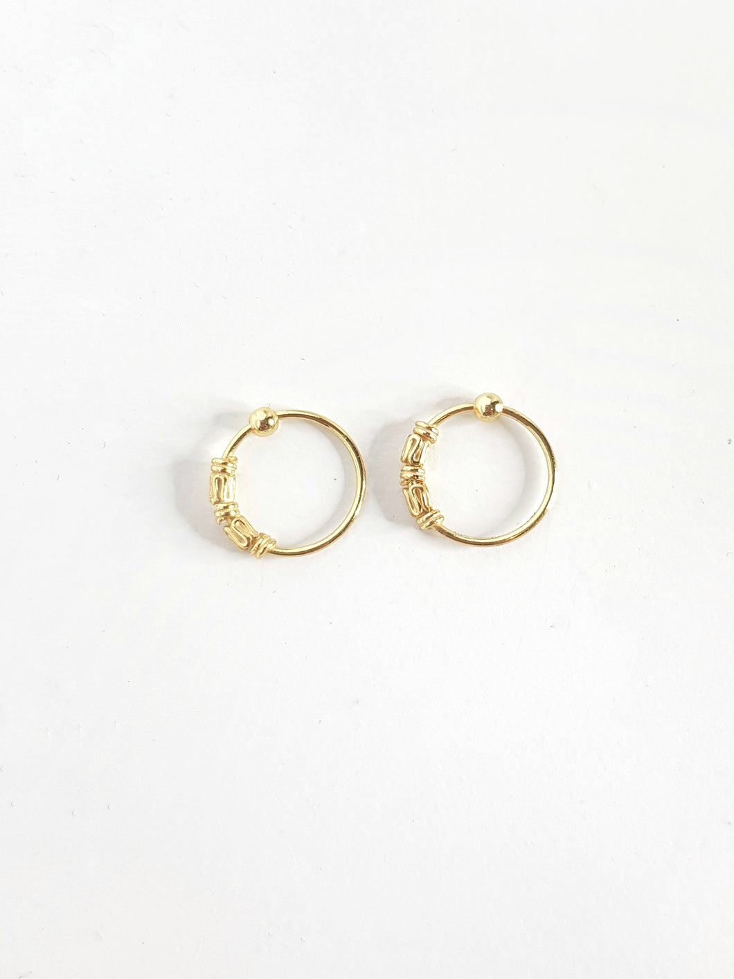 10mm Gold Plated Silver Beaded Hoops