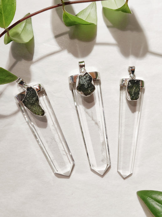 Moldavite and Clear Quartz Pendant
