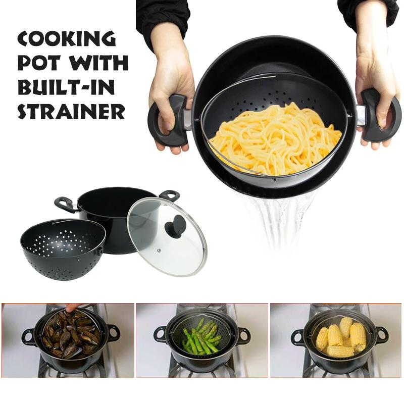 Cooking Pot With Built-In Strainer - Best Helper For Kitchen
