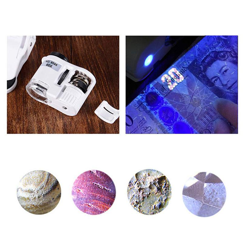 Cell Phone Microscope Lens with LED UV Light