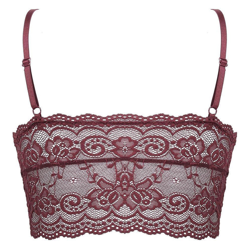 Wireless Sexy Floral Lace Bra, Adjustable Straps