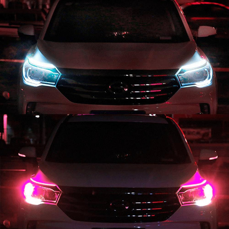 Flexible DRL LED Night & Daytime Running Light Strip 2PCS