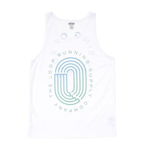 Ring of Runners Singlet, White & Gradient Blue