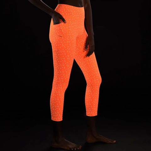 Firecracker Reflective 3/4 Tights, Orange