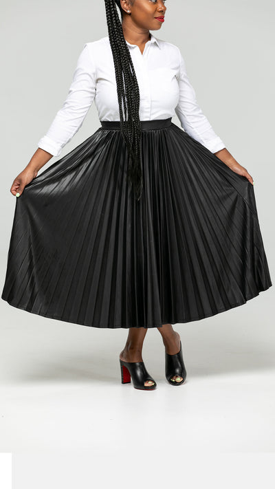 Biker Babe Vegan Leather Pleated Skirt