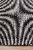 Lykke Hand Loomed Cotton Rug in Black