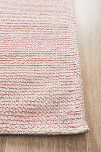 Lykke Hand Loomed Cotton Rug in Rose