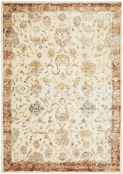 Sasha Abrash Transitional Rug in Ivory & Rust