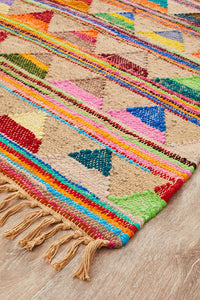Aravalli Mountain Natural Jute and Cotton Eco Rug in Multi