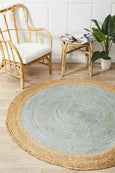 Lokaksema Natural Jute Round Rug in Blue