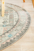 Sylvia Blush & Soft Grey Medallion Distressed Round Rug