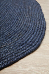 Byron Natural Jute Oval Rug in Navy