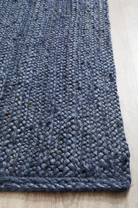 Byron Natural Jute Runner Rug in Navy