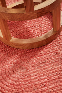 Byron Natural Jute Oval Rug in Coral
