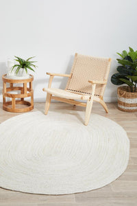 Byron Natural Jute Oval Rug in White