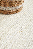 Byron Natural Jute Runner Rug in White