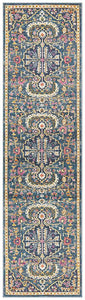 Hettie Bohemian Floral Medallion Runner Rug in Navy