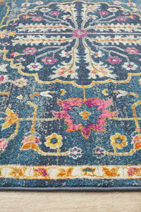 Hettie Bohemian Floral Medallion Rug in Navy