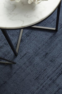 Asta Luxe Viscose Rug in Denim Blue