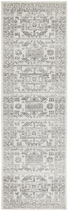 Stela Aztec Medallion Runner Rug in Grey & Ivory