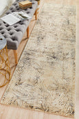Lola Palms Transitional Runner Rug in Cream & Charcoal