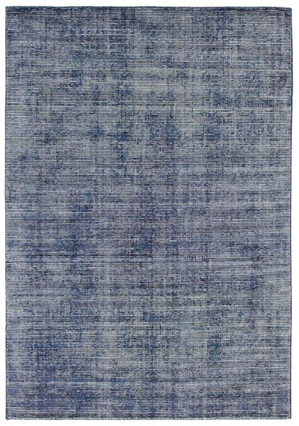 Aura Luxury Ribbed Hand Knotted Rug in Navy