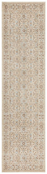 Alara Stonewashed Runner Rug in Bone & Blue Floral Pattern