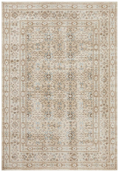 Alara Stonewashed Rug in Bone & Blue Floral Pattern