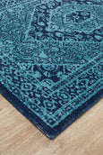 Poppy Distressed Vintage Look Runner Rug in Blue