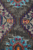 Layla Distressed Medallion Runner Rug in Charcoal & Pink