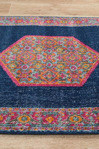 Avalie Distressed Floral Medallion Runner Rug in Pink & Navy